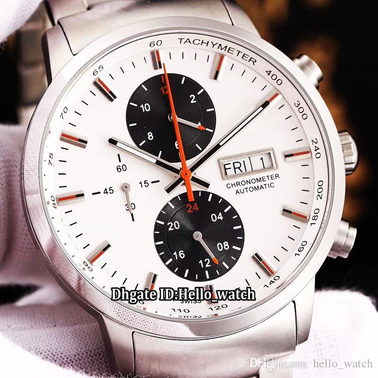 77733cd3b44a Compre New Calendar Commander M016.415.11.261.00 Whie Dial Negro Sub Dial Reloj  Automático Para Hombre Banda De Acero Inoxidable Caballeros Nuevos Relojes  A ...