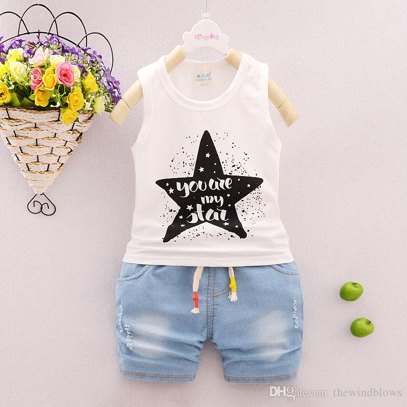 8db5dd23d 2018 Baby Boys Clothing Summer Sets Star Cotton Sleeveless Vest+ ...