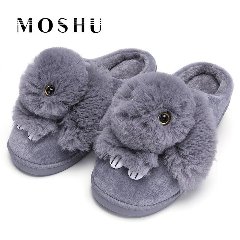 15542f88e Women Winter Home Slippers Ladies Animal Cute Bunny Warm Plush Indoor Slippers  House Soft Casual Shoes For Women Sheepskin Slippers Slippers For Men From  ...