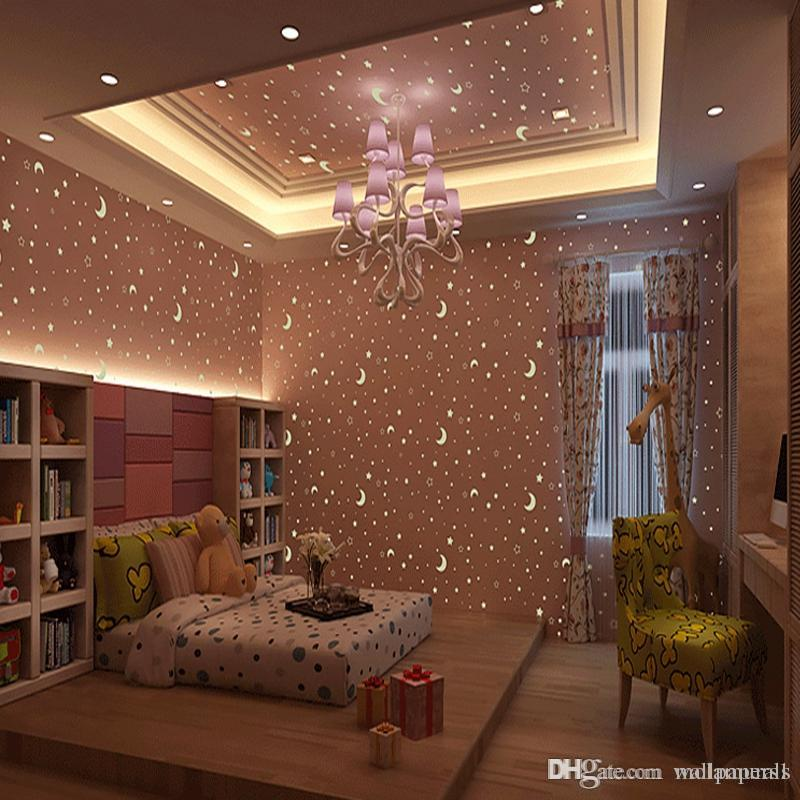 Kidu0027S Room Luminous Wallpaper Roll Stars And The Moon Boys And Girls Childrenu0027S  Room Bedroom Ceiling Fluorescent Wallpaper Decor Full Hd Wallpapers Pc Full  ...