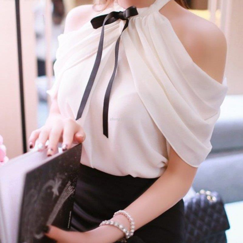 3c2a92762a1767 2019 White Shirt Women Sexy Off Shoulder Top Slash Neck Slim Wrap See  Through Chiffon Blouse From Zhang110119