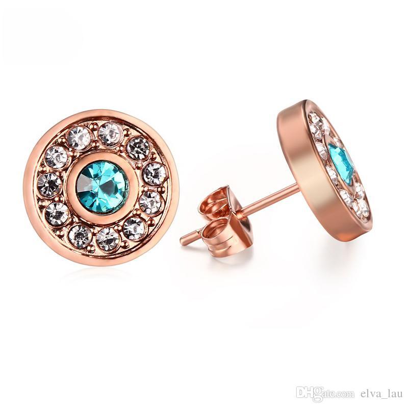 96966f9b8f Elegante Bling Frauen Ohrstecker Rose Gold Farbe Runde Edelstahl Ohrringe  Weibliches Geschenk mit glänzenden Strasssteinen