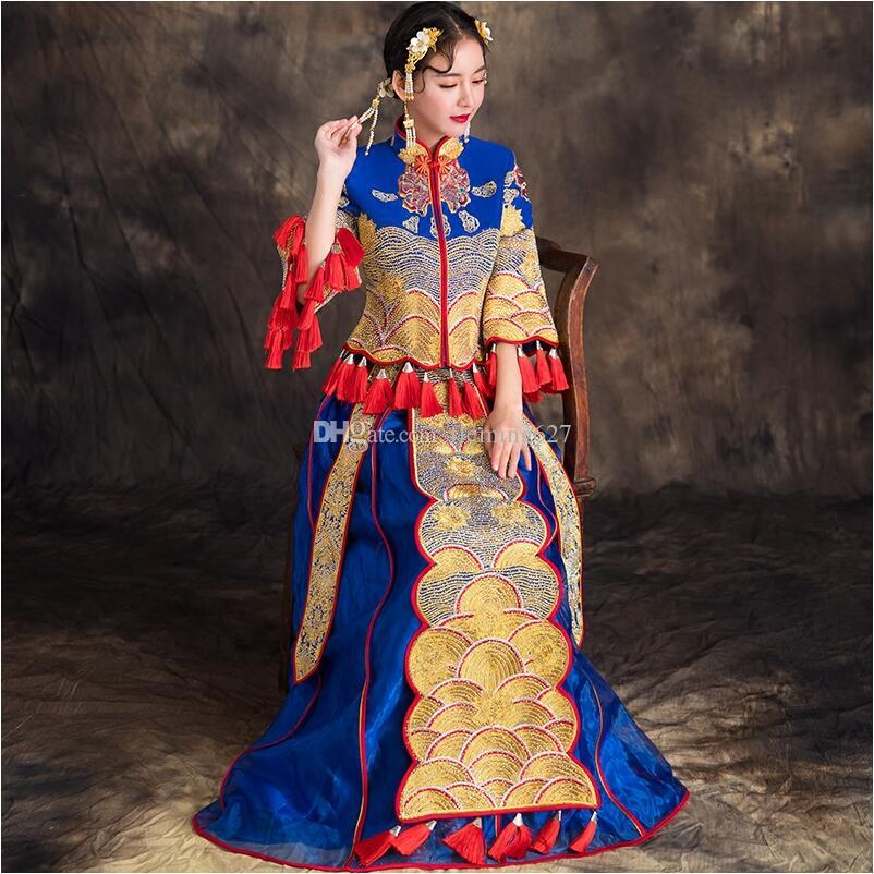 8e8bb7670649 Acquista Nuovo Antico Nobile Reale Matrimonio Cinese Tradizionale Abito Da  Sposa Abito Ricamato In Stile Cinese Costume Vintage Abbigliamento Etnico  ...