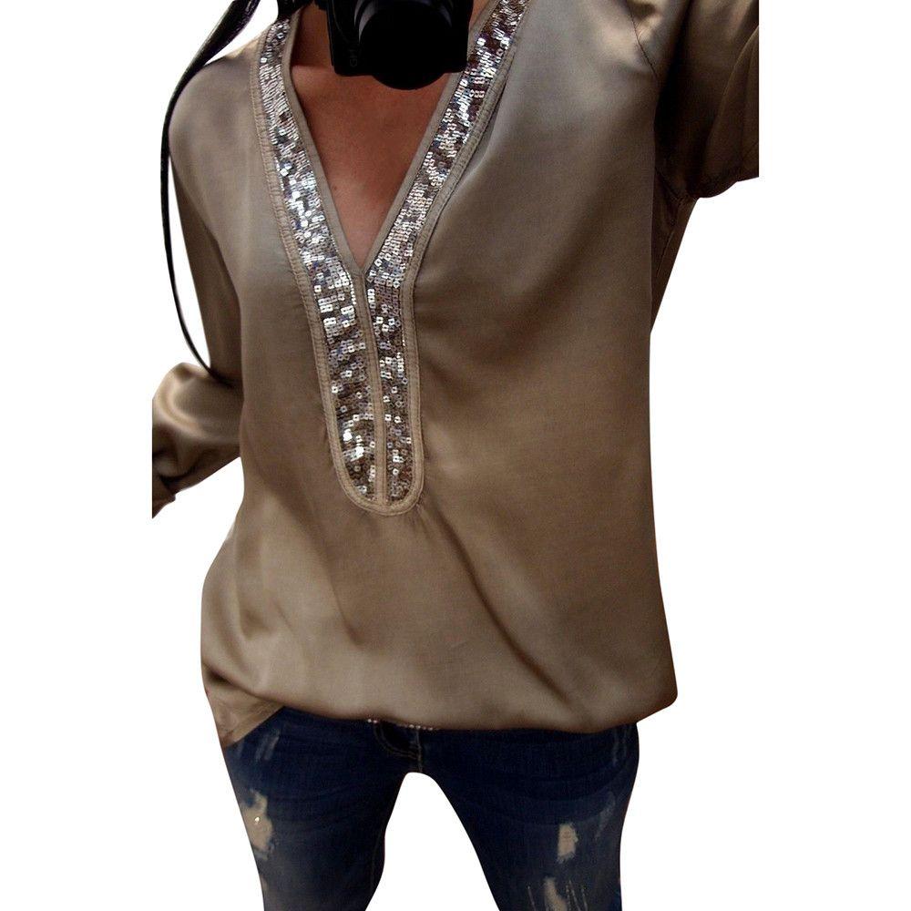 dfaaa84c7ea33 2018 New Fashion Womens T-shirt Tops Casual Quotidien Paillettes À Manches  Longues V-Neck Tops Casual T-Shirt Lâche Tee Mère Grande Taille