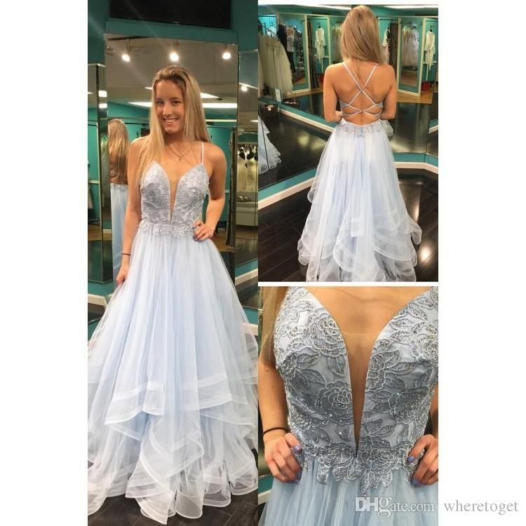 2019 Beautiful Blue Prom Dresses Lace Top Tulle Long With Criss Cross Back Prom  Gowns Cheap Pretty Prom Dresses Cheap Prom Dress Uk From Wheretoget 570a129a4