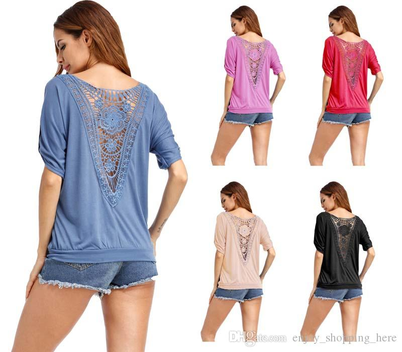 Summer Hollow T Shirt Women Sexy lace Backless Top Tee Shirts Casual Open Back V Neck Loose Short Sleeve Plus Size T-shirt S-5XL
