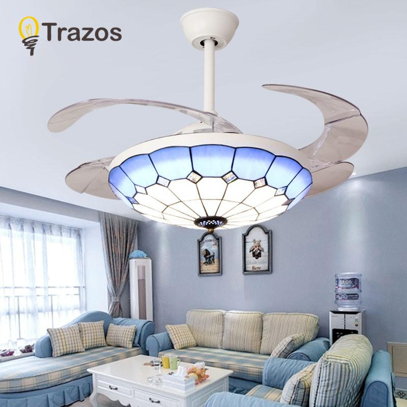 2019 Trazos Nordic Tiffany Ceiling Fan With Lights Blue