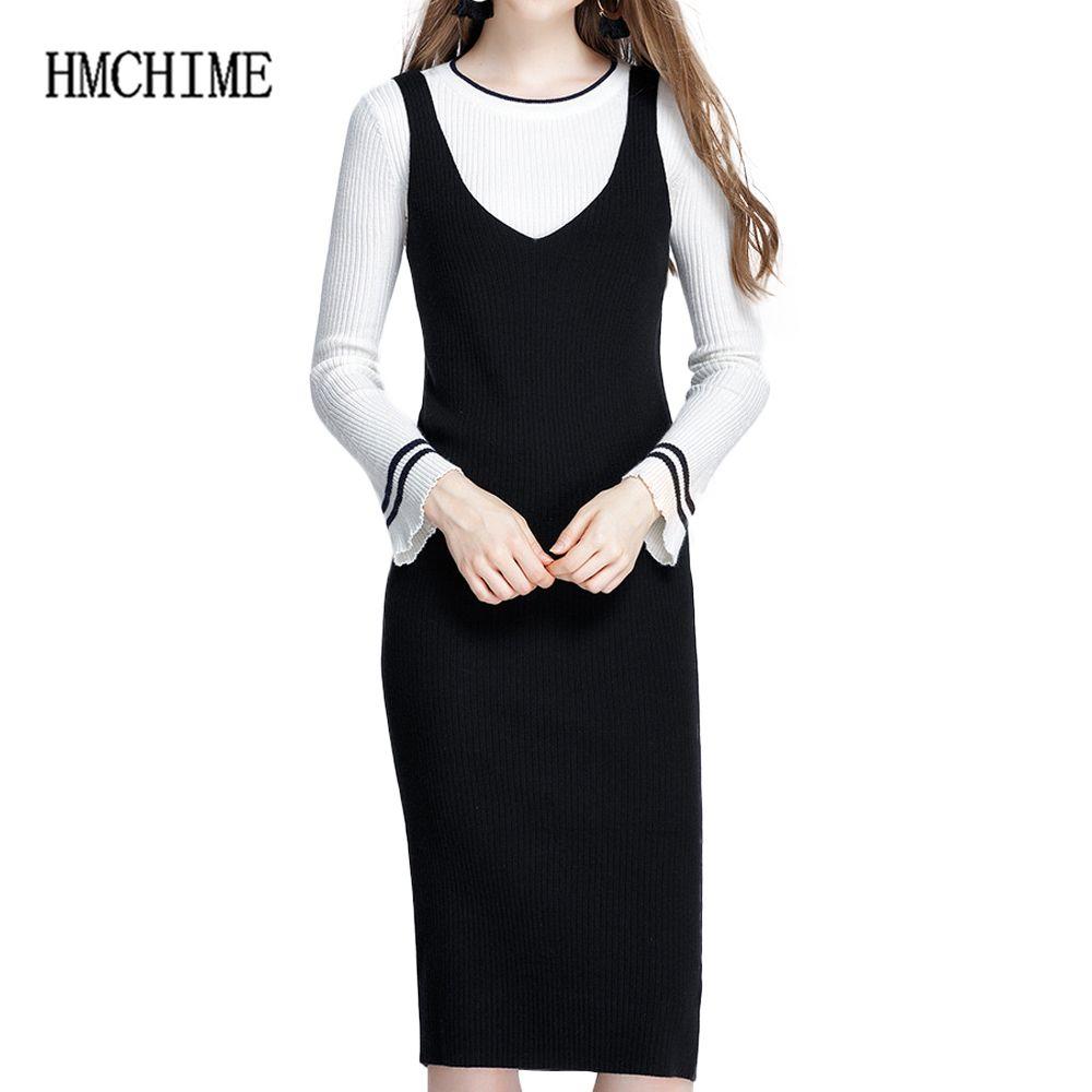 f2e750503 Compre Mulheres Suspensórios Vestido Camisola 2018 Outono Inverno V Pescoço Pullovers  Blusas Femininas Longas Sólidos Básicos Senhoras De Malha Vestido ...