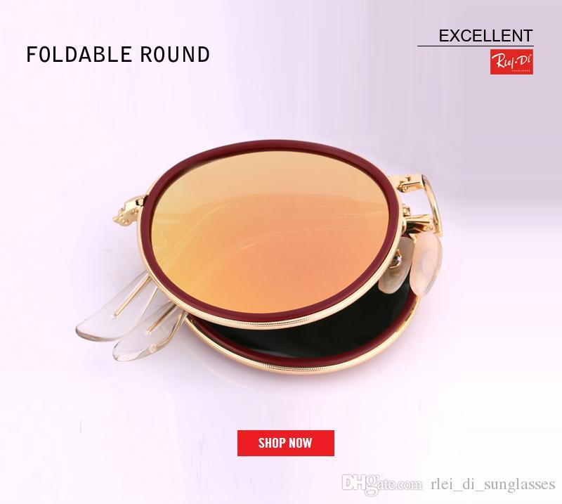 c625e7ef9ca 2018 Luxury Women Sunglasses Fashion Folding Round Sun Glasses Ladies Vintage  Retro Brand Designer Pink Female Mirror SunGlasses UV400 Gafas Foldable  Round ...