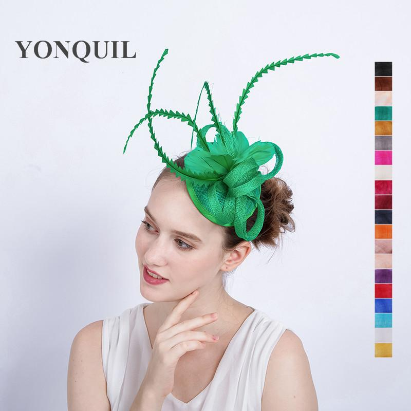 Green Solid Sinamay Party Fascinator Hat Sposa Church Hats Wedding Hair  Accessories Feather Decor Headpiece On Hair Clips SYF130 Kids Party Hat  Kids Party ... 2b538171193