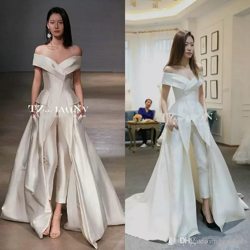343017953d0 Discount Women Jumpsuit With Long Train Wedding Dresses 2018 White Off  Shoulder Sweep Train Elegant Zuhair Murad Bridal Dress Vestidos Festa  Wedding Dress ...