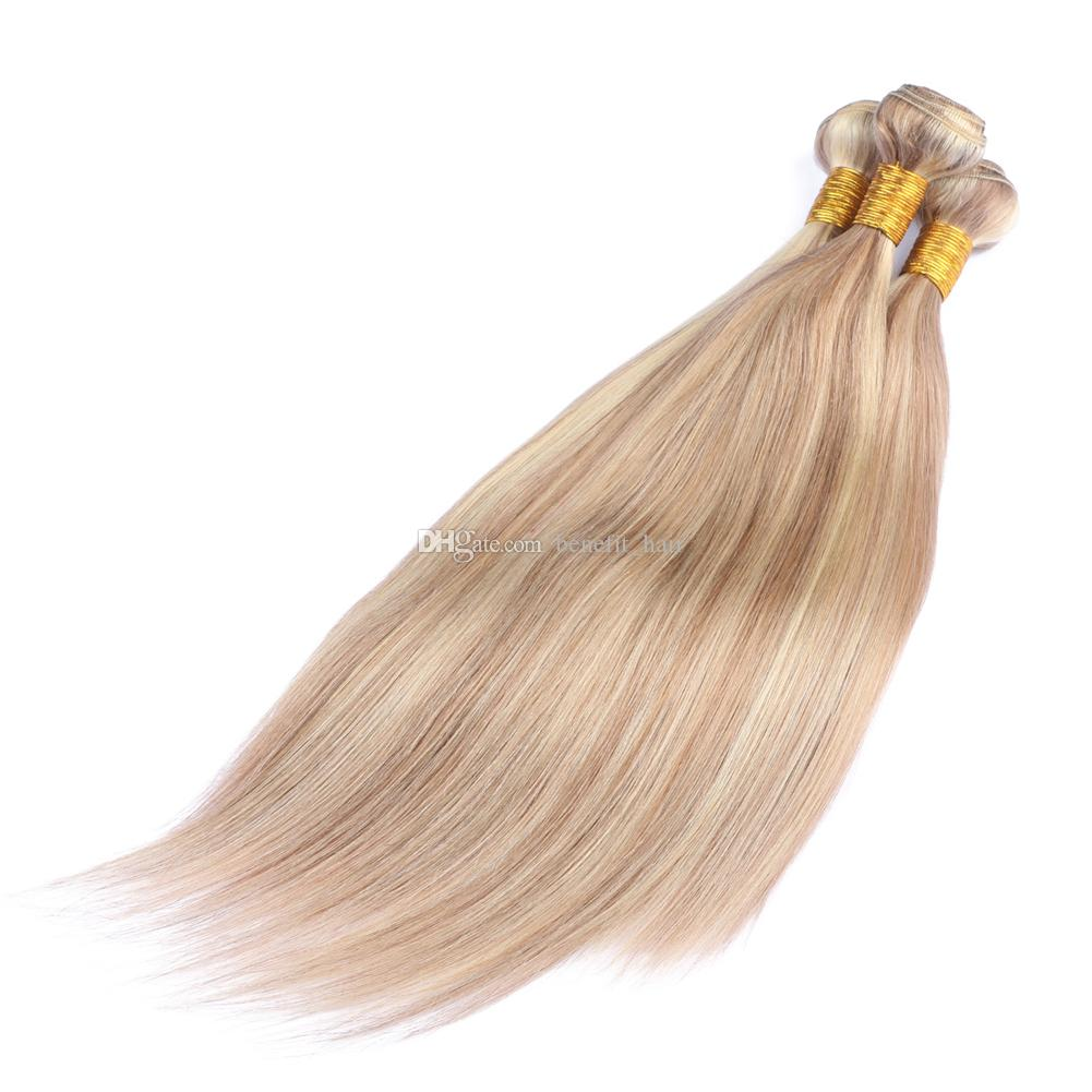 Mixed Color 27 613 Human Hair Weaves 3 bundles Weft Strawberry Blonde and Blench Blonde Virgin Human Hair Extension Two Tone Straight Hair