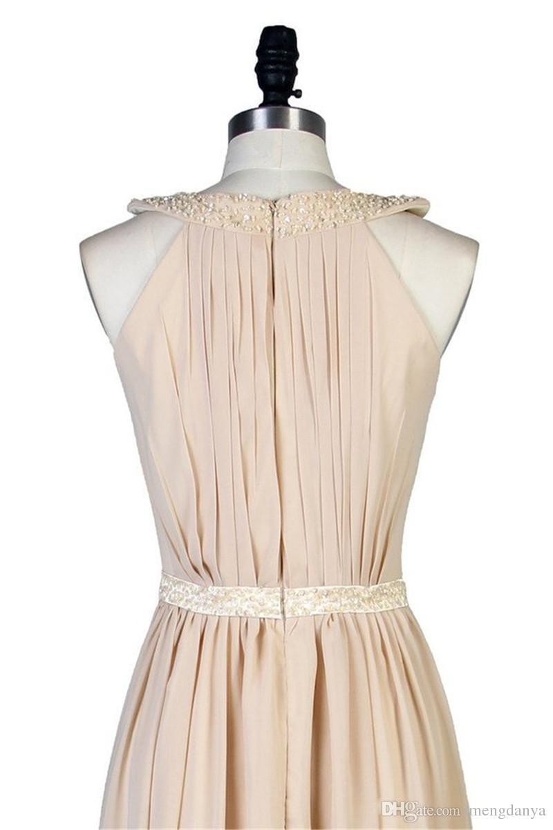 2018 Vestido De Festa 어깨에서 우아한 쉬폰 O-Neck 이브닝 드레스 Sequined Sashes Prom 파티 드레스 Vestido Longo