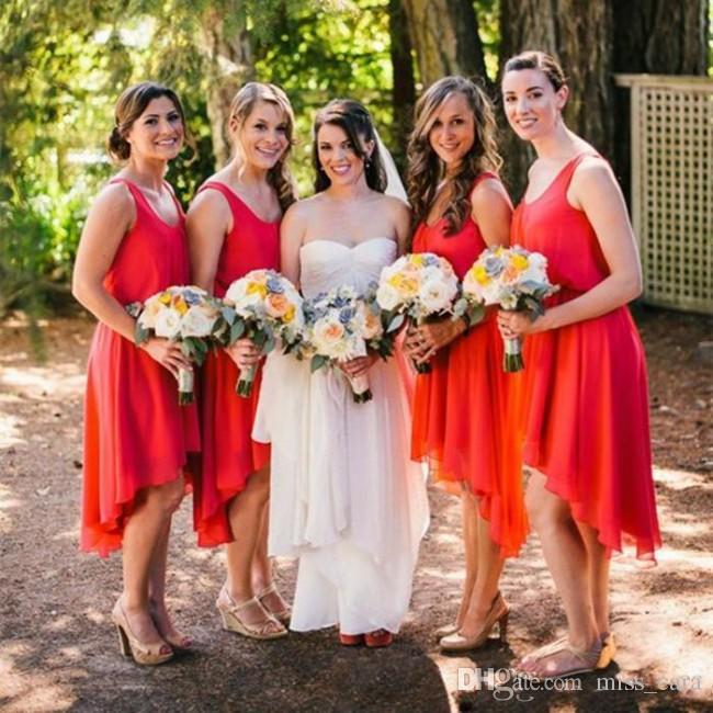 Cheap Red High Low Bridesmaids Dresses Scoop Neckline Chiffon Women Party Dress Under 100 Short Bridemaid Dress