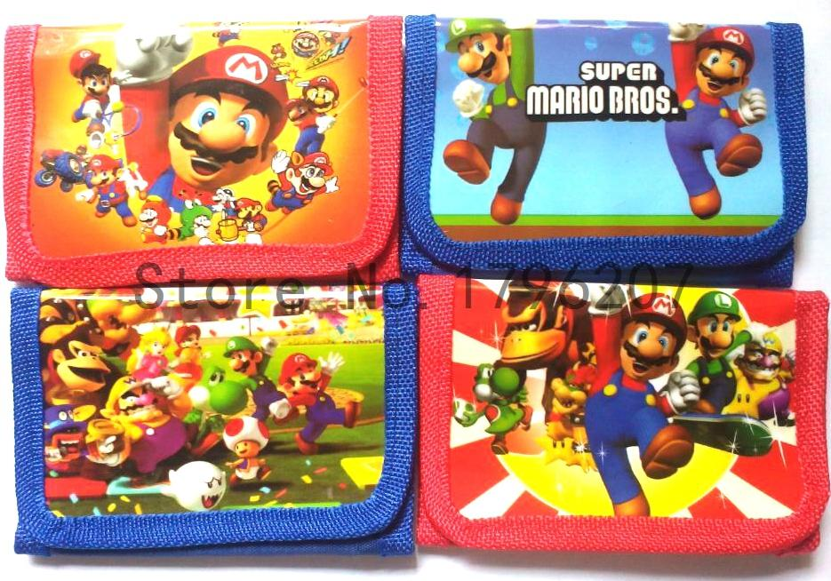 Hot Sale New 12pcs Super Mario Cartoon Children Cartoon Wallet Cute Zipper Change Coin Purse Watch Boxes B-106