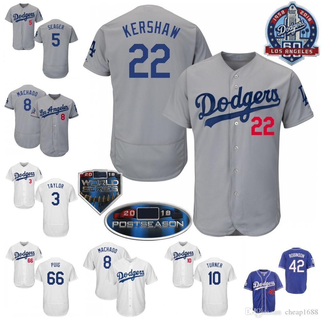 42812eb77 2019 Los Angeles  22 Clayton Kershaw Jersey 35 Cody Bellinger 10 Justin  Turner 21 Walker Buehler 14 Enrique Hernandez LA 2018 WS 60th S 4XL From  Cheap1688