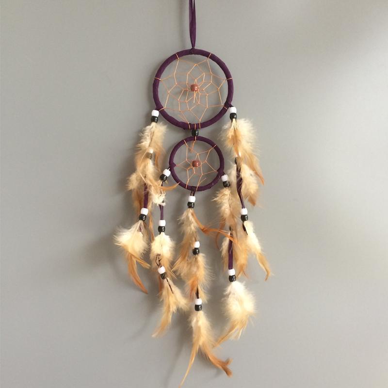 Anillos dobles hechos a mano atrapasueños hogar colgando atrapasueños decoración es artesanías mixtas hechas a mano whosale