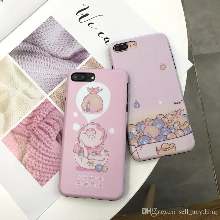 Japanese Pink Girl Phone Cases Daily Bonus For Iphone X TPU Soft All-Inclusive IMD Cell Phone Case For Iphone 6 7 8 Plus