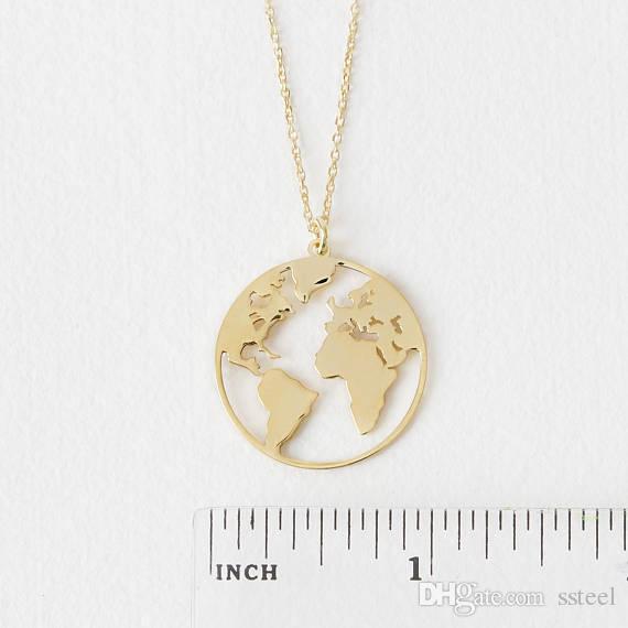10 unids Unique Circle Outline World Map globo colgante, collar de oro / plata plana continente regalo de la joyería para el amigo