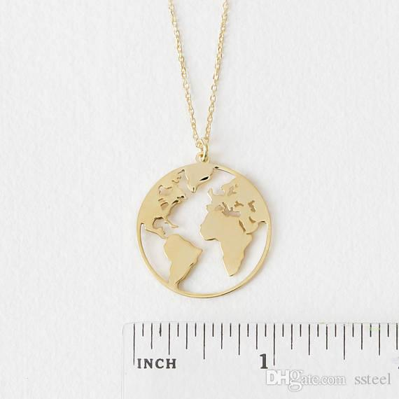 Unique Circle Outline World Map Globe Pendant Necklace Gold/Silver Flat Continent Jewelry Gift for Friend