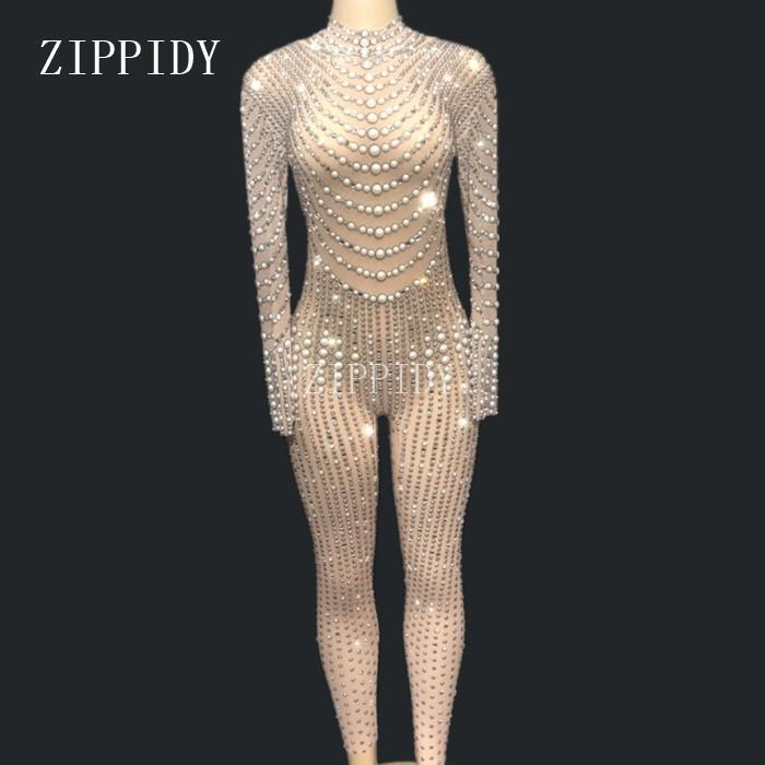 Bright Pearls Cristales Mesh Monos Sexy Rhinestones Perspectiva Bodysuit Etapa Danza Desgaste Noche Celebrar Traje Brillante