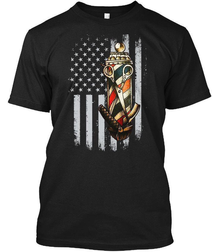 ffe09673ac1 Quality Barber Uniform Barber Pole Us Flag Front Wholesale Cool Casual  Sleeves Cotton T Shirt Fashion New T Shirts Tagless Tee T Shirt Shirt And  Tshirt ...