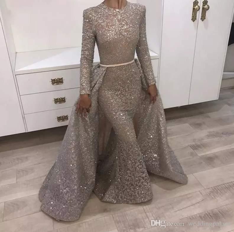 2018 Mermaid Abiye Jewel Uzun Kollu Benzersiz Tasarım Abiye giyim Dantel Payetler Boncuk Kristaller Örgün Abiye