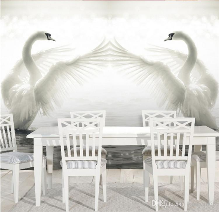 3D large-scale murals Swan Lake TV background wallpaper wallpaper living room hotel sofa bedroom non-woven fabric