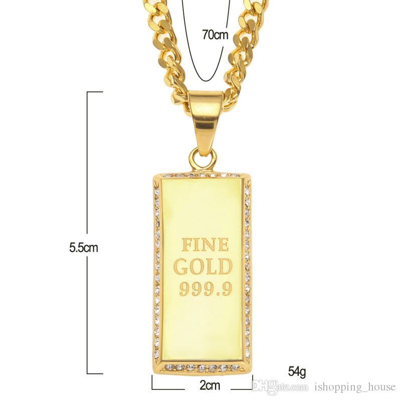Hotsale Men Hip Hop Necklace Stainless Steel Gold Plaed CZ Fine Gold 999.9 Dog Tag Pendant Necklace for Men Women NL-682