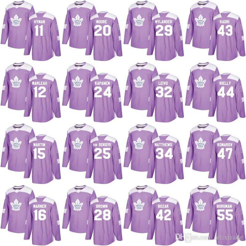 low priced 678c9 be1cd Toronto Maple Leafs Purple Hockey Fights Cancer Practice Jersey Mitch  Marner Patrick Marleau Morgan Rielly James van Riemsdyk Andersen