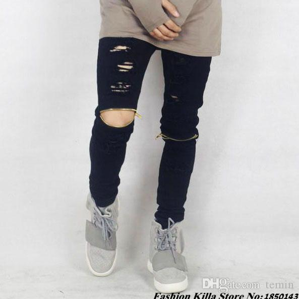 57f43e4e4 2019 Wholesale Famous Brand Mens Designer Clothes Black Skinny Ripped Jeans  Swag Zipper On Knee Scratched Distressed Denim Pants For Men 28 40 From  Temin, ...