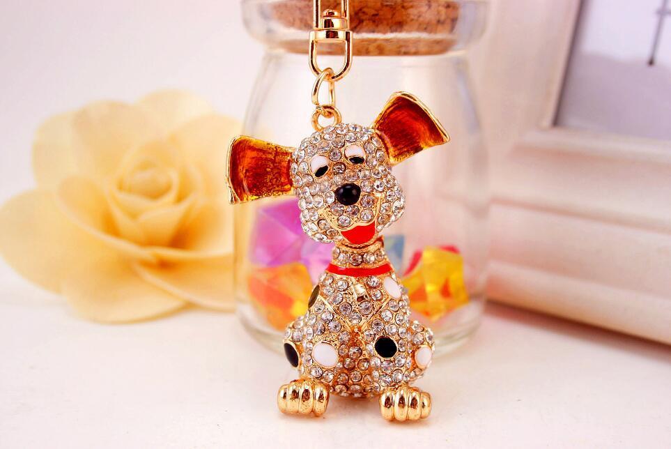Porte-clés chien chiot dalmatien - Womens sac charme porte-clé à la mode porte-clés en cristal porte-clé - faveur de mariage cadeau et souvenir unique