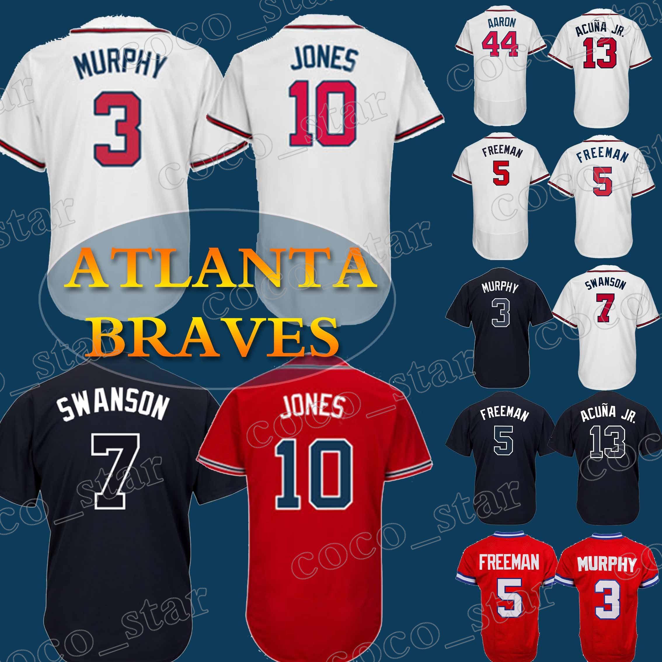 82839eceb Compre Camiseta De Los Atlanta Braves 3 Camiseta De Dale Murphy 10 Chipper  Jones 5 Freddie Freeman 44 Camiseta De Béisbol Hank Aaron A  23.63 Del  Coco star ...