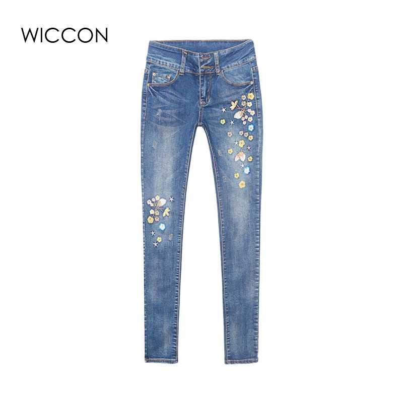 8b3aee3d028e Herbst Blumen Stickerei Jeans Frauen Pantalon Femme Frau Jeans Skinny Hosen  Winter Denim Hosen Stretch Bleistift WICCON