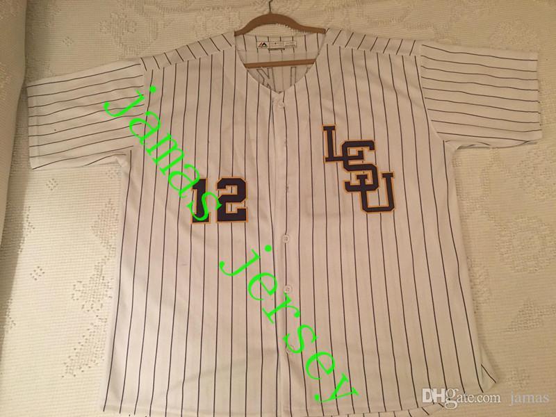Benutzerdefinierte S-5XL LSU Tigers College Baseball # 8 Alex Bregman Lila Gold Weiß Gelb DJ LeMahieu Nola Gausman genäht alle Namenstrikots