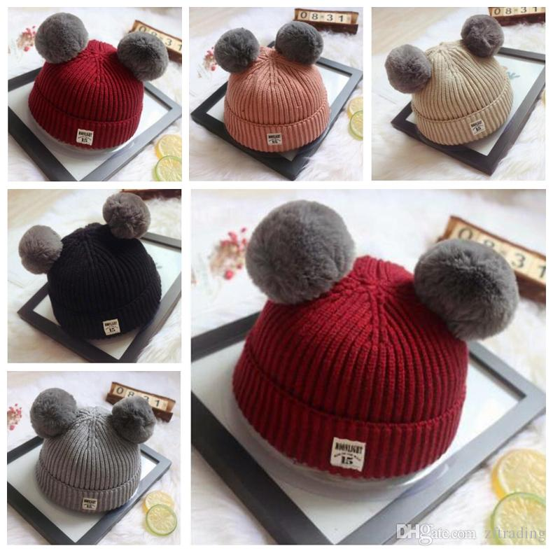 05e0b0fc6 2019 New Cute Winter Crimping Cap Lazy Rabbit Fur Knit Hat Baby Cute Two  Rabbit Fur Ball Boys Girls Gift Hat Crochets Knitting Hats From Zftrading