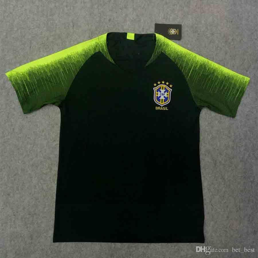 a1e58854fe Acheter Hauts 2018 Maillot D'entraînement Du Brésil Version Thaïlandaise Brésil  Vert Foncé Football Maillot D'entraînement T Shirts S 2XL De $12.08 Du ...