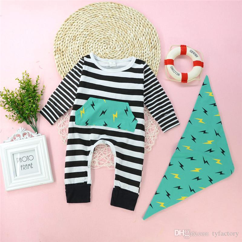 4613e0cc5745 2019 20108 Baby Boy Striped Romper Long Sleeve Jumpsuit Green Bib Set  Geometric Flash Baby Clothes Outfits Kids Boys Rompers Bodysuit 0 24M From  Tyfactory