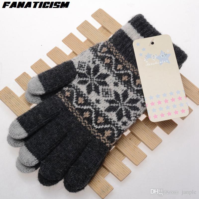 2018 Fanaticism Thicken Knitted Snowflake Pattern Gloves Women Men