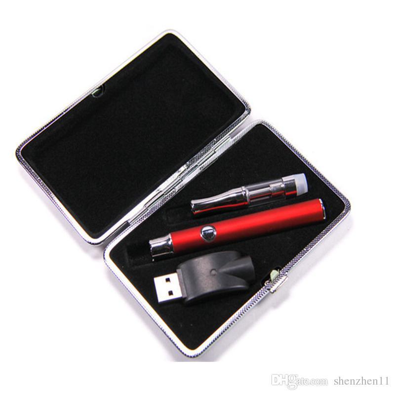 Kits de Tanque de vidro Kits de Pré-aquecimento CE3 Pyrex Cartuchos De Vidro Pré-aqueça a Bateria Tensão Variável CE3 Mais Novo Steel Box Starter Kits OTH134