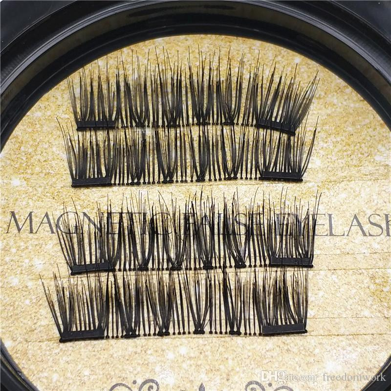 Best quality Gold Double Magnetic Lashes 3D Mink Reusable Fasle Eyelash Without Glue =dhl