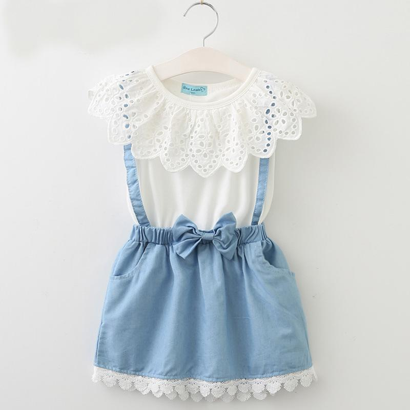 5752898bf7d Baby Girls Dresses 2018 New Lace Hollow Out Denim Dress Sleeveless Cotton  Summer Lace Dress Children Princess Clothes C2956 Baby Girls Dresses Denim  Dress ...