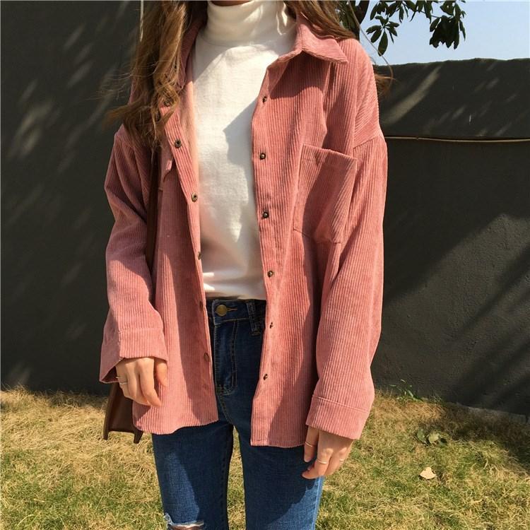 2 Automne Vestes Longues Couleurs Velours Outwear Manteaux Côtelé Casual Poche Femmes Bf Manches Style Solid Lâches De 2018 À Coréen SzpUMV