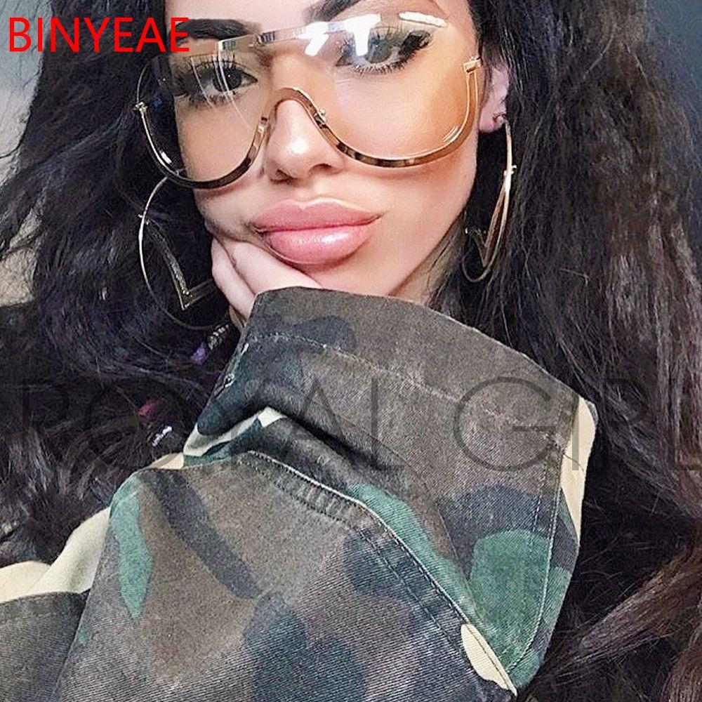 1c1b6129292a Oversized Shield Clear Sunglasses Women Big Brand Vintage Transparent  Eyewear Metal Frame Sun Glasses Tint Color Eyeglasses Men Sunglasses At  Night Lyrics ...