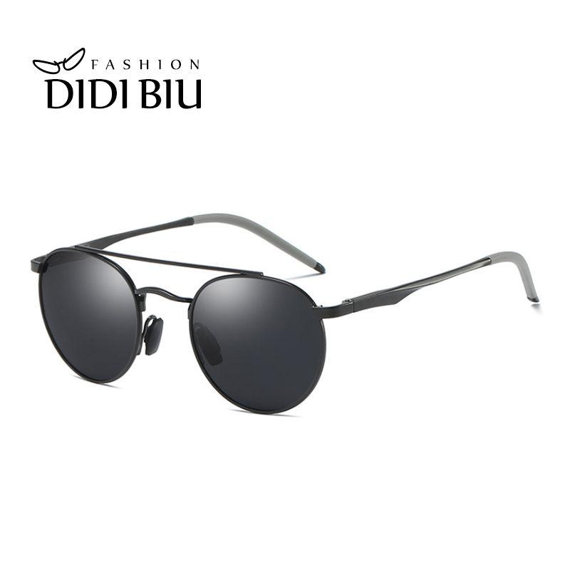 01c25209ecf Small Round Polarized Sunglasses Men Brand Military Aluminium Sun ...