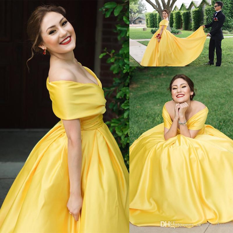 Yellow Ball Gown Prom Dresses Deep V Neck Satin Sweep Train Formal ...