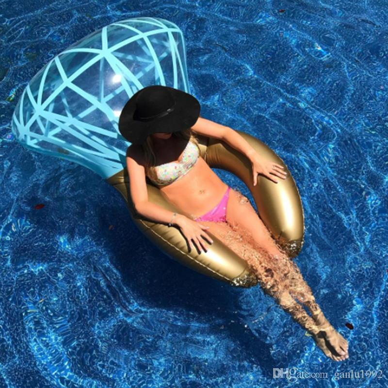 New Pattern Pool Diamond Ring Water Inflatable Thickening Color Adult Swimming Circle Summer Portable Funny Floats Pad 45zj W
