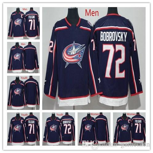 4de58d3d1 Columbus Blue Jackets Ice Hockey Jerseys 71 Nick Foligno 72 Sergei ...