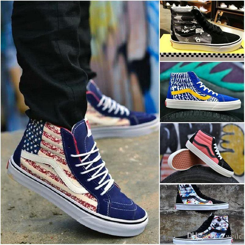 2019 2018 New Old Skool John Hamersveld OG SK8 HI Reissue American Flag  Flame Mens Women Casual Skateboard Designer Shoes Canvas Sport Sneakers  From Weile 8d22ad4e5