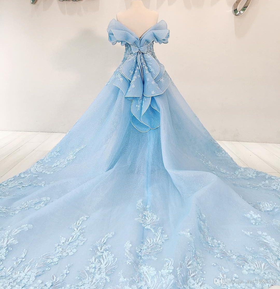 Sparkly Cloud vestido de noche azul con falda larga bordado elegante con cuentas apliques florales vestido de fiesta de lentejuelas Dubai sirena vestidos de noche